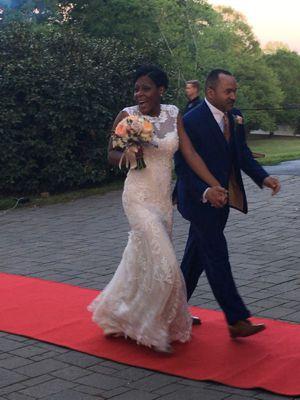 Bride and Groom Entering Alda's Magnolia Hill Reception - Wedding Page Gallery