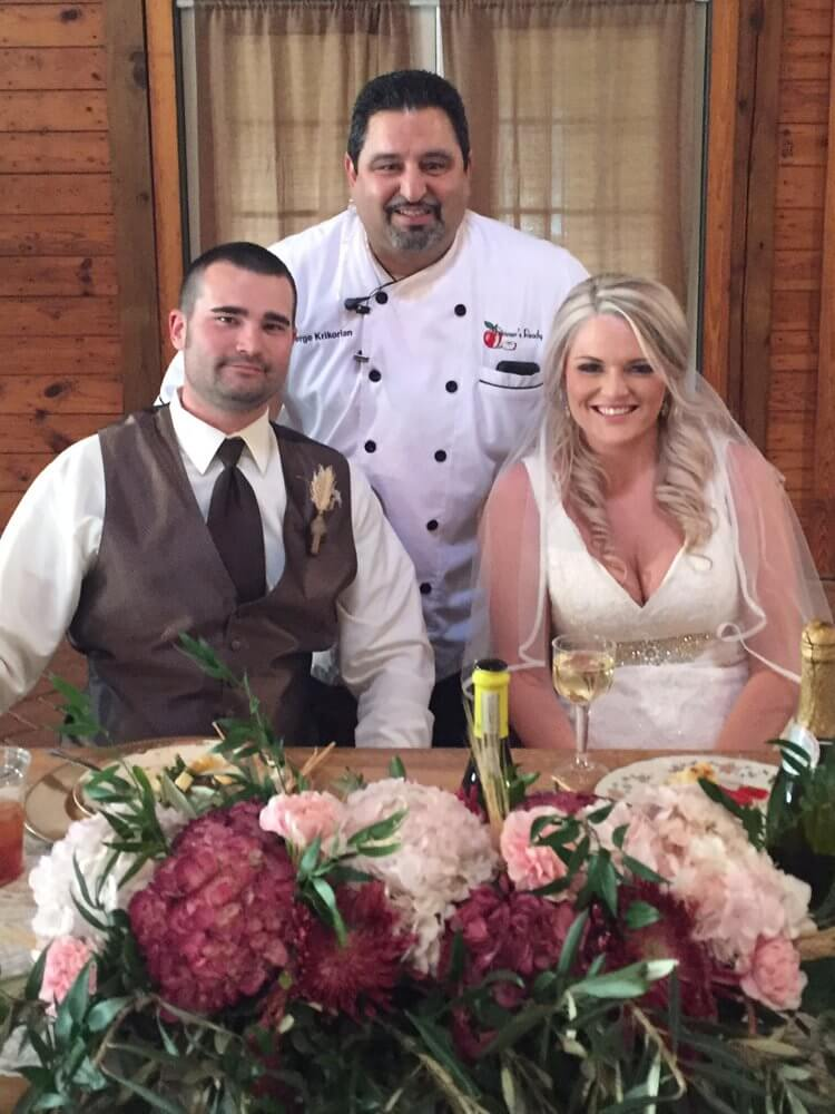 Chef Serge with Bride and Groom - About Us Moving Gallery 2018