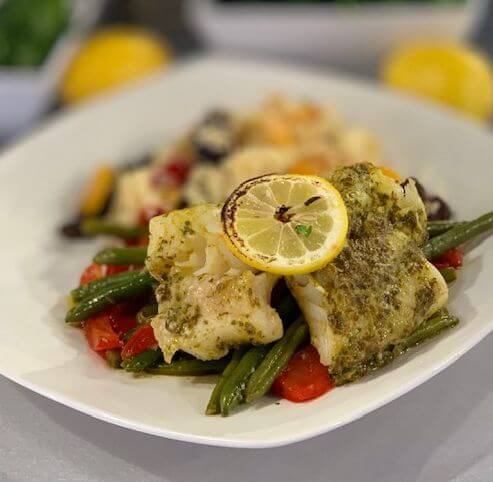 Baked Cod with Chermula Sauce