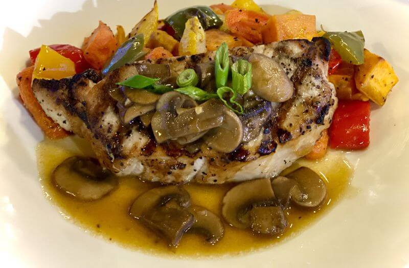 Grilled Pork Chop with Chasseur Sauce